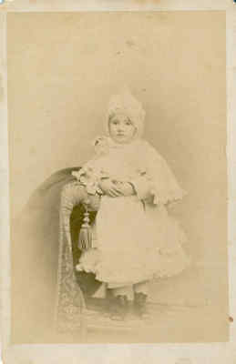 Cabinet Card, Little Girl & Doll Dressed Alike, Lacy Hats & Capes, New York, Ny