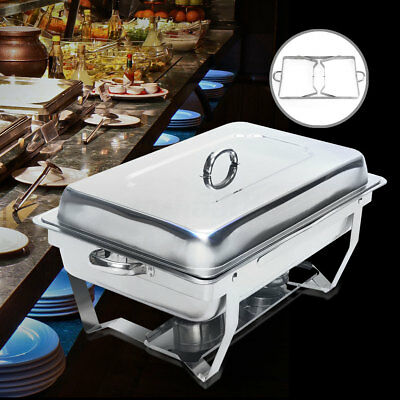 Rectangular Chafer Chafing Dish Stainless Steel Food Food Tray Buffet Dining US