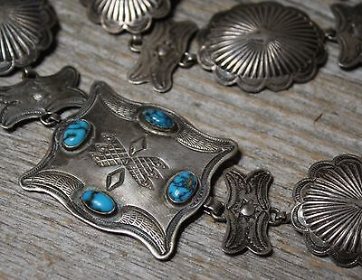 Stunning Early Navajo American Navajo Sterling Silver Turquoise Concho Belt