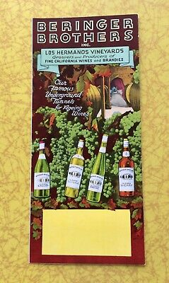 BERENGER BROTHERS 1950s ADVERTISING MAP TO NAPA VALLEY  & COOKING WITH WINE
