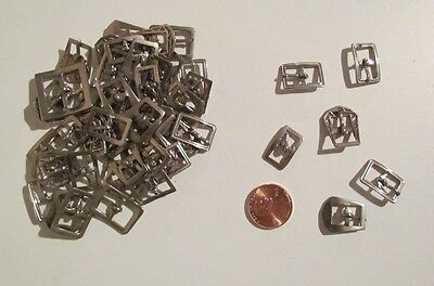 """Lot of 50 silver-tone craft buckles various sizes most mini 1/2"""" to 1"""" unbranded"""