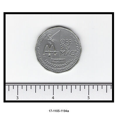 1990 McDonald's/Sears Canada Plastic $1 Discount Token