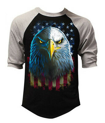 New Men's Eagle Stare US Flag Black Gray Baseball Raglan T Shirt American Spirit