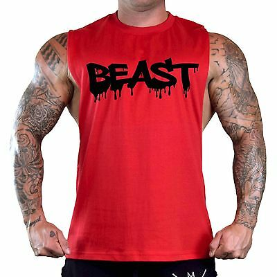 db8ae6171c027 Men s Black Beast Dripping Red T-Shirt Tank Top Gym Workout Fitness Muscle  V169