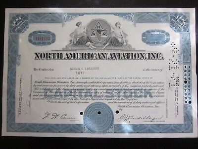 North American Aviation Stock Certificate Now Boeing 50 shares 1963