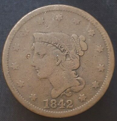 1842 Braided Hair Large Cent Nice Coin For Your Collection Free Shipping