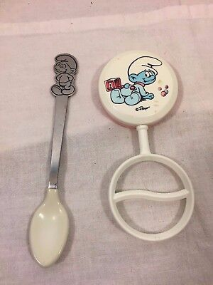 Vintage Smurf Baby Spoon (Danara) and Rattle