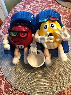 Vintage New M & M Dispenser  At The Movies Red and Yellow with Blue Chair