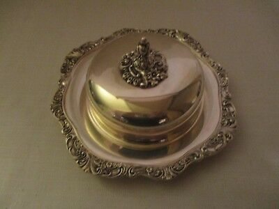 Vintage Wallace Baroque Round Covered Butter Cheese Dish 3 Pieces