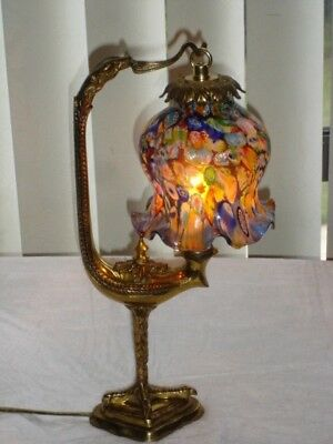 OLD BRONZE ITALY Millefiori Glass BIRD LAMP, SIGN