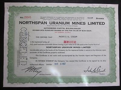 Northspan Uranium Mines Limited Stock Certificate 200 shares Rare! 1957