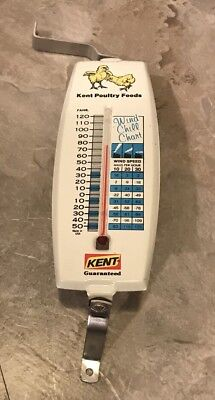 Vintage Kent Poultry Feeds Metal Advertising Thermometer Feed Seed Farm