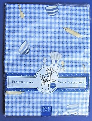 "NIP Pillsbury Doughboy Poppin Fresh Blue & White Gingham 52"" X 52"" Sq Tablecloth"