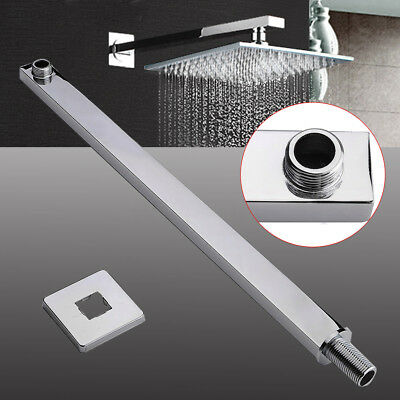 24'' 60cm Square Chrome Rainshower Shower Head Extension Arm Rod Wall Mounted