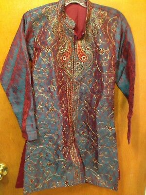 Boys size 10 wedding Indian Kurta Sherwani Kameez TOP ONLY embroidered beads NEW