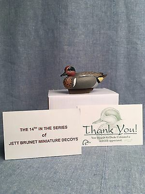 Jett Brunet Miniature Green-winged Teal Duck Decoy DU Ducks Unlimited NIB