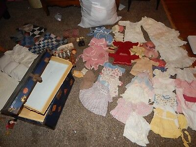 Antique 1:12 Miniature Bisque dolls, Steamer Trunk, 1900-1950 doll clothes, More