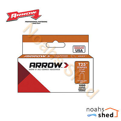 "5 x ARROW T25 #257 Staple Steel Round Crown 7/16"" ( 11mm ) Made in USA Pack 1000"