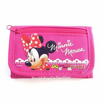Disney Hot Pink Minnie Mouse Kids Wallet for Girls Photo Holder Clear Window