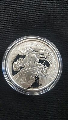 Alphonse Mucha 1 0z .999 silver round DANCE #2 in Art series collection limited