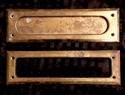 "Lot of 2 Parts Vintage Brass Letter Mail Slot Spring Door 10"" x 3"""