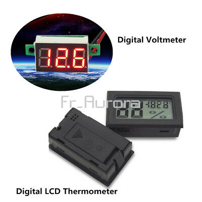 Digital LCD Temperature Humidity Thermometer Hygrometer+Red LED Voltage Meter