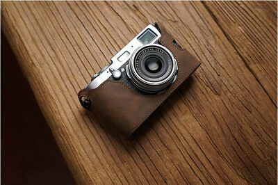 Genuine real Leather Half Camera Case Bag Cover for FUJIFILM X100 X100S X100T DB