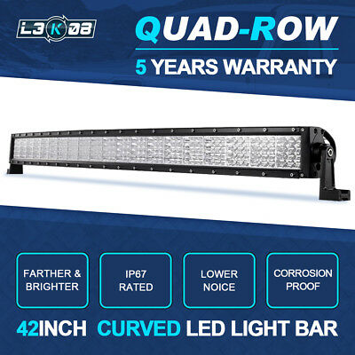 """42inch 2880W QUAD ROW Curved LED Light Bar Combo Flood Spot Offroad Truck 44"""""""