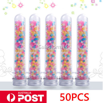 50PCS Plastic Lab Test Tubes Metal Caps Screw Top Lid Round Bottom Wedding Party
