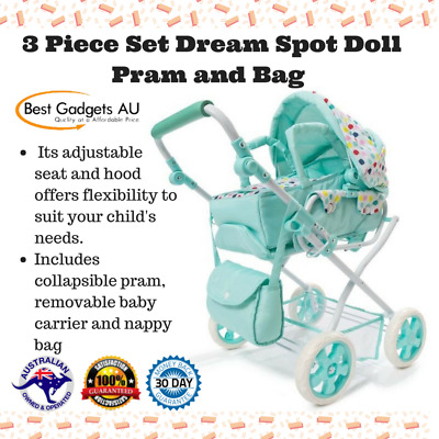 3 Piece Set Dream Spot Doll Pram and Bag Collapsible Adjustable Seat Hood Girls