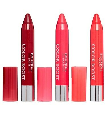 Bourjois 3 x Color Boost Glossy Finish Lipstick Crayons NEW with SPF15