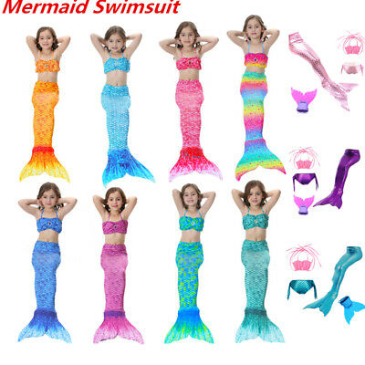 Mermaid Tail Mono Fin Swimmable Tops Panties Swimsuit Girls Cosplay Costume Lot