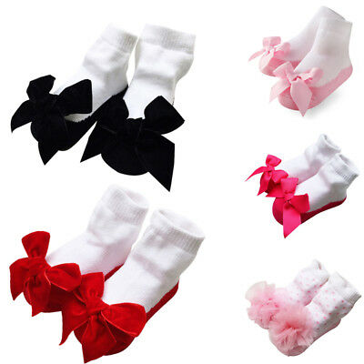 Baby Girls Tutu Socks Bow Lace Newborn Infant Frilly Sock Cotton Shoes Socks
