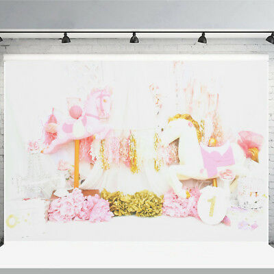 7x5ft 5x3ft Flower Unicorn Baby Photo Background Photography Backdrop Vinyl Prop