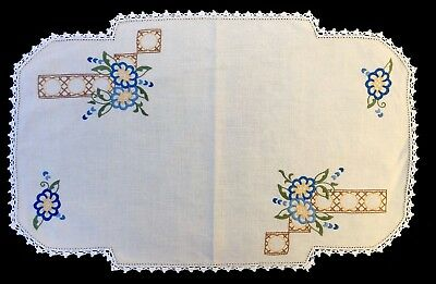 Vintage Hand Embroidered Large Linen Doily - Crochet Edges - 51cm X 32cm
