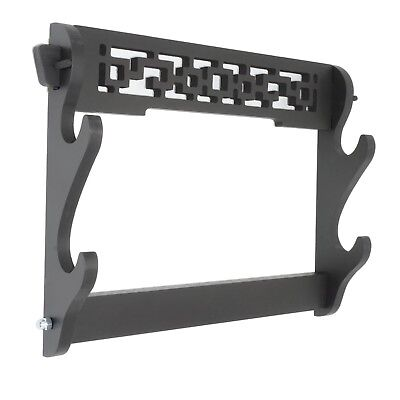 2 Tier Sword Holder Wall Mount Display Stand Samurai Rack Hanger for Katana
