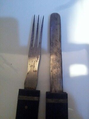 Antique Very Rare W H Wragg Boer War Campaign Ebony Handle Knife And Fork c1860s