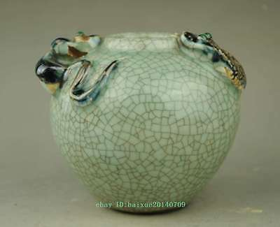 Vintage Chinese Crackle Porcelain Water Pot Jar Snake & Mouse