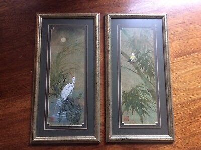Set of 2 Gouache On Cork Paintings -  Japanese Orient Oriental Art Bird Floral