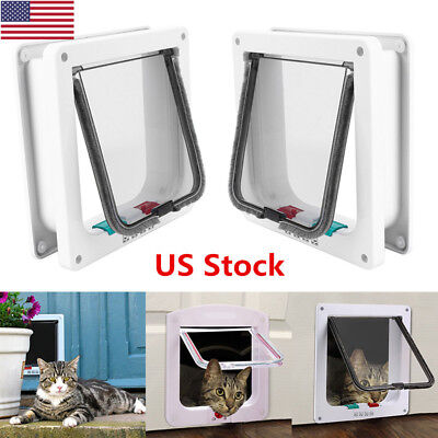 US New Small Medium Large Pet Cat Kitten Dog Supply Lock Lockable Safe Flap Door