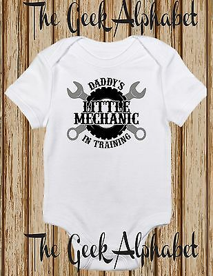 Daddy's Little Mechanic Onepiece Baby Clothes Boy Girl Hipster Dad Baby Clothes