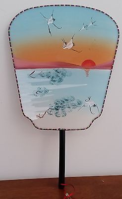 Vintage 1960s Oriental STRETCHED SILK w CRANE SUNSET Design Ladies Hand Fan