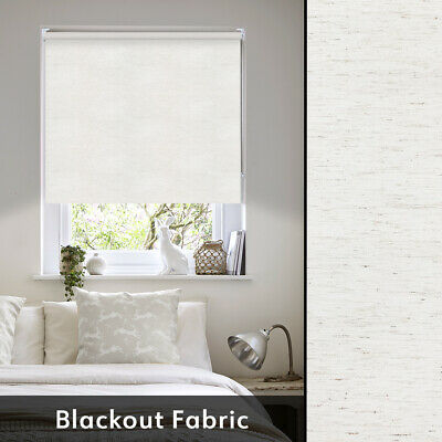 Blackout Linen Roller Blind - Made To Measure Blackout Blind In Natural or Grey