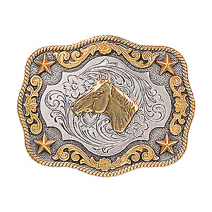 Nocona Youth Belt Buckle  Horse Head