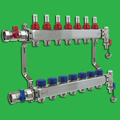Underfloor Heating Manifold 7 Port Stainless Steel Reliance  MANA450507