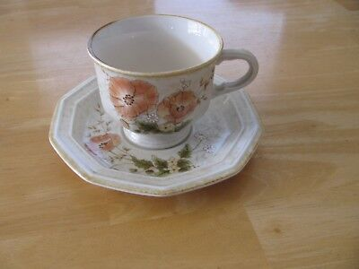 4 Mikasa Avante TERRACE FE 906 Stoneware Cups Saucers Set Flowers - Very Good