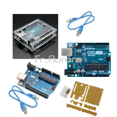 Original Official Genuine Arduino Uno R3 ATmega328 ATMEGA16U2 Board+Case+Cable