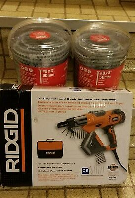 """Rigid 3"""" Drywall and Deck Collated Screwdriver and 2000  2""""  deck screw clips"""