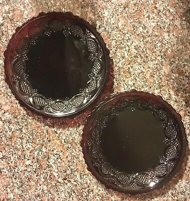 Set of 2 Vintage Avon Ruby Red Cape Cod Bread and Butter Plates Christmas 5 1/2""