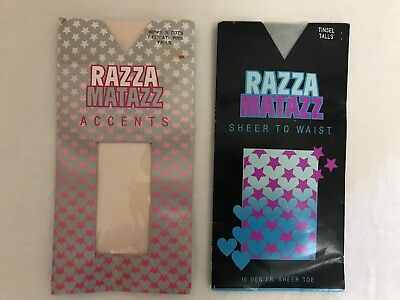 2 packs of pantyhose by Razzmatazz bows n dots pink and Tinsel size Talls